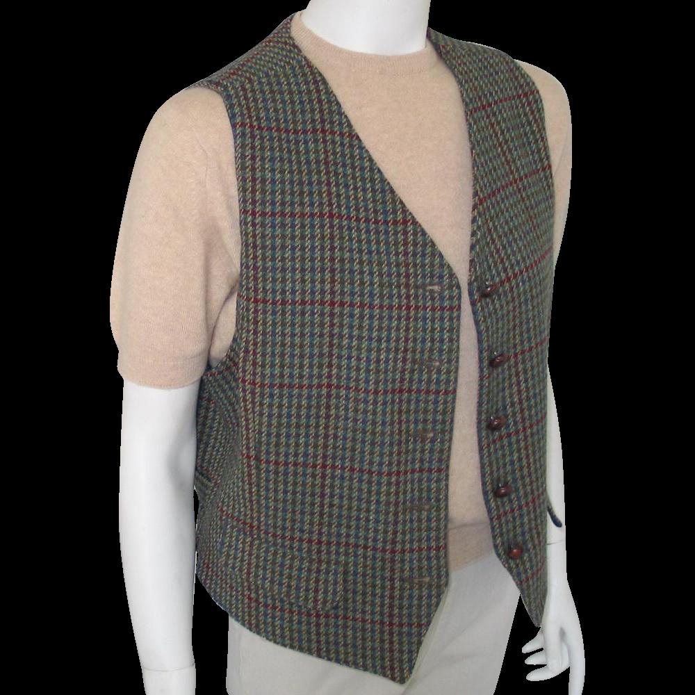 Vintage 1980s Menswear Inspired Dark Teal Sage Straw and Berry Tweed Plaid Vest Waistcoat