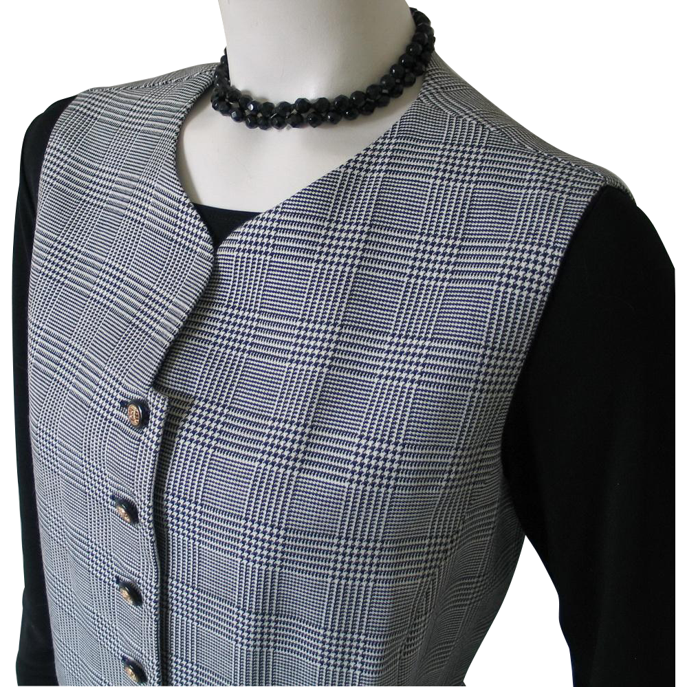 Vintage 1980s Black White Houndstooth Plaid Menswear Inspired Vest for Her M