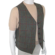 Vintage 1980s Menswear Inspired Dark Teal Sage Straw and Berry Tweed Plaid Vest Waistcoat M