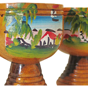 Vintage Hand Painted Jamaican West Indies Wood Footed Cups