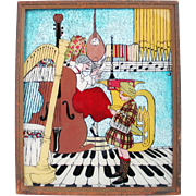 RARE Original Hand Painted Music Themed Vintage 1939 Tinsel Foil Reverse Print Wall Hanging
