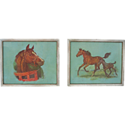 Vintage 1950s Set of Two Horse Pony Western Prints
