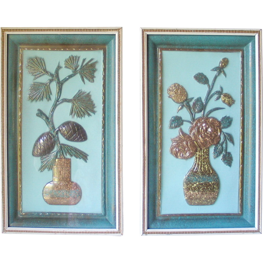 Vintage Pair of 1960s 3D Dimensional Raised Turquoise Vegas Gold Kitsch Wall Plaques Decor