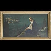 Vintage Framed Print of Jesus Christ Litho Print Portrait Mt Olive in the Moonlight