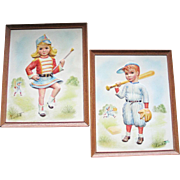 Vintage 1950s Pair of 3D Prints Wall Hangings Kids Children Majorette Baseball Player by Charlotte