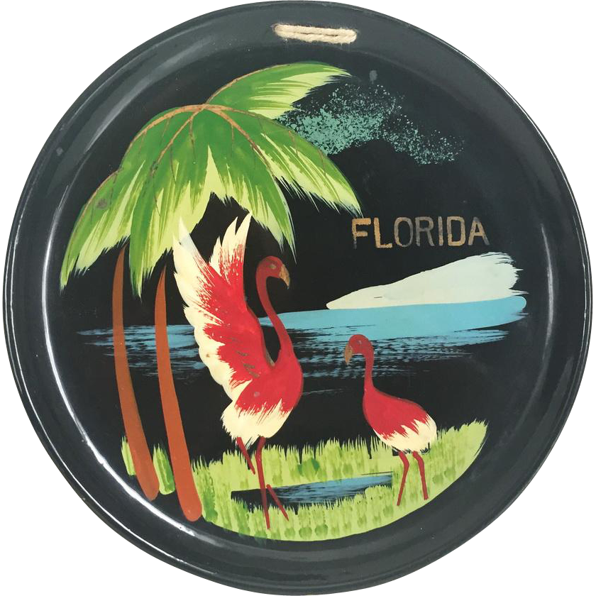 Vintage Enamelware Souvenir Flamingo Florida Plate Wall Hanging Decor