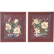 Vintage 1940s Pair of Turner Chocolate Brown Floral Prints Wall Decor Art