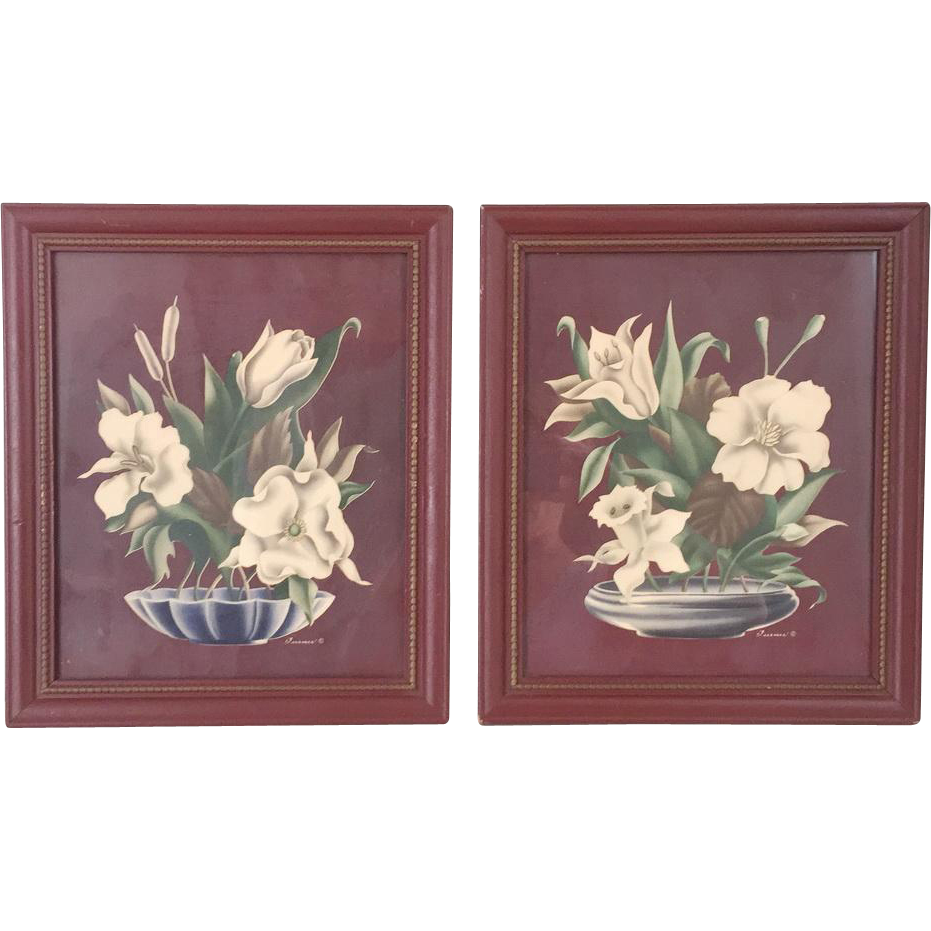 Vintage 1940s twin turner chocolate brown floral prints for Floral wall art