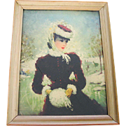 Vintage 1960s Framed Print of a Victorian Lady At The Skating Pond