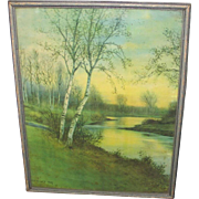 Vintage 1920s Late Winter Early Spring Landscape Print Birches Along a Stream by George Howell Gay