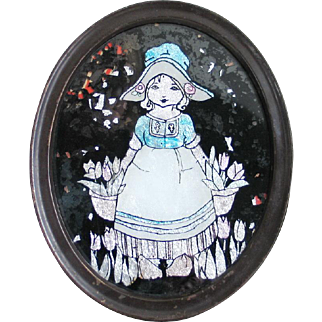 Vintage Early 1900s Oval Tinsel Reverse Painting of Dutch Girl with Tulips