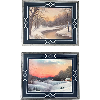 Set of Two Vintage 1930s Winter Landscape Prints in Bordered Reverse Paint Frames
