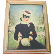 Vintage Framed Winter Print of a Victorian Lady At The Skating Pond