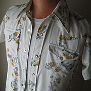 Very Cool Vintage 1970s H Bar C Sheer Flower Stripe Cowboy Western VLV RAB Shirt M