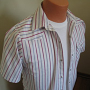 Authentic Vintage 1970s Red White and Blue Striped Cowboy Rockabilly VLV Shirt All American S