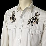 Vintage 1960s Black Gold on White Embroidered VLV Rockabilly Hillbilly Cowboy Western Wear Shirt  15-33