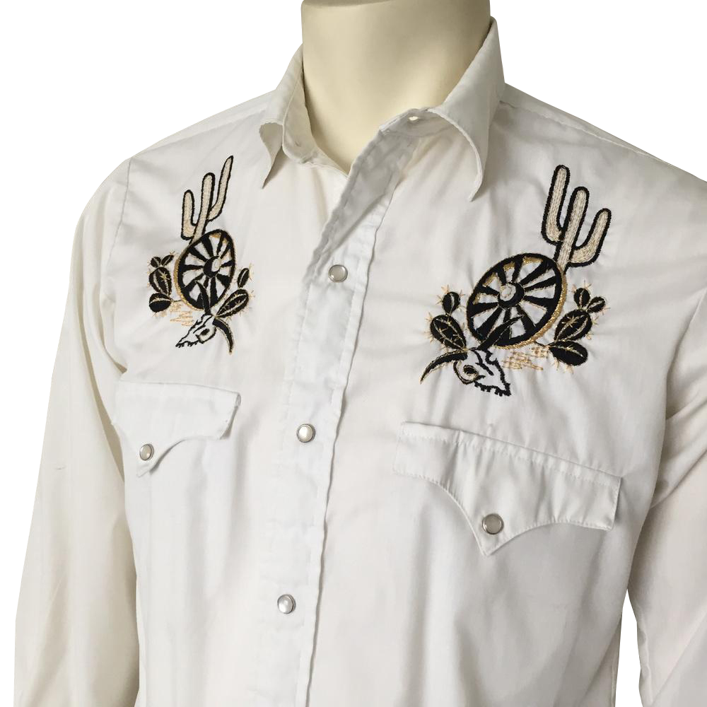 Vintage 1960s Black Gold on White Embroidered VLV Rockabilly Hillbilly Cowboy Western Wear Shirt  15-33