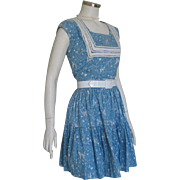 Authentic Vintage 1940s Novelty Print Blue and White Southwestern Western Patio Dress Set with Tiered Skirt and Top