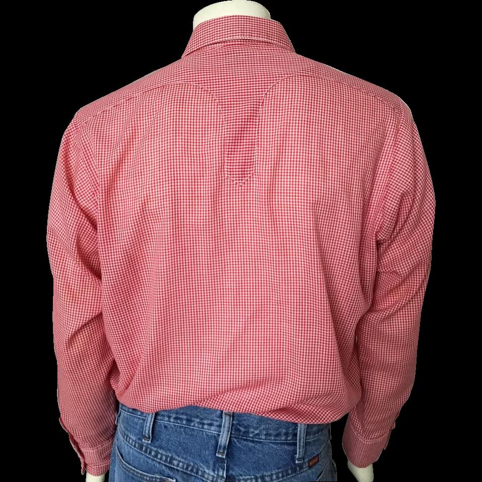 Vintage 1960s Rockmount Ranch Wear Tru-West Red White Gingham Cowboy Rockabilly Shirt