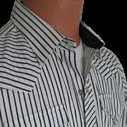 Vintage 1980s H Bar C Ranchwear White and Black Stripe Urban Cowboy VLV Shirt M L