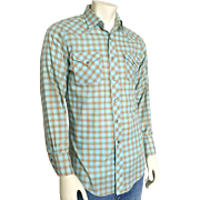 Vintage 1960s 1970s H Bar C Aqua & Orange Plaid Rockabilly Cowboy Western Shirt VLV