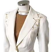 Vintage 1960s 70s H Bar C California Ranchwear Western Wear VLV Flared Leg Pantsuit Pant Suit Cream with Gold Trim