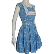 Authentic Vintage 1940s Novelty Print Sky Blue and White Southwestern Western Patio Dress Set with Tiered Skirt and Top XS S