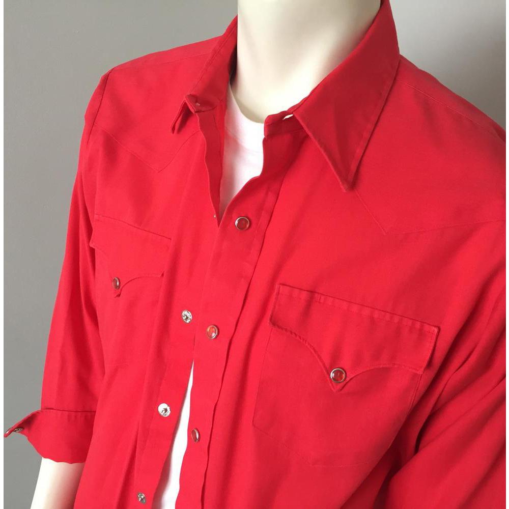 Vintage 1970s Poppy Red H Bar C Rockabilly Western Cowboy Shirt L