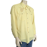 Vintage 1960s Light Yellow Cowboy Shirt with Gold and White Embroidery Horseshoes Four Leaf Clovers L XL