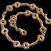 Vintage Horse-Bit Gold Tone Necklace