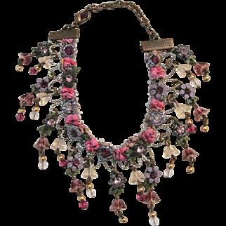 Vintage Flowers And Rhinestone Bracelet