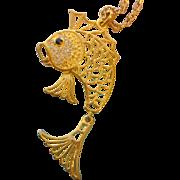 Vintage Articulated Goldtone Fish Necklace