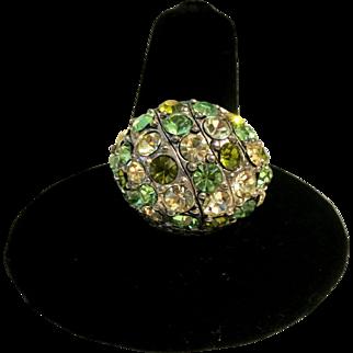 Vintage Green Rhinestone Domed Ring