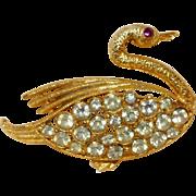Vintage Rhinestone Swan Brooch Pin