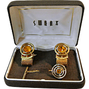Vintage Swank Topaz Rhinestone Cufflinks And Tie Tac Set In Original Box