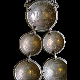 Vintage Peruvian Coins Ceramic Beads Necklace