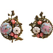 Vintage Glass Beads, Rhinestones And Brass Clip-On Earrings