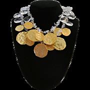 Vintage Kenneth Lane Golden Discs And Crystals Necklace