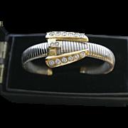 Vintage Silver Rhinestone Buckle Cuff Bracelet