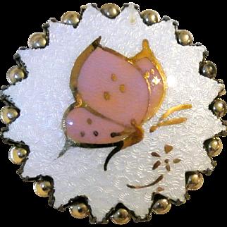 Vintage Guilloche Butterfly Enamel Brooch
