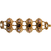 Vintage Ornate Byzantine-Style Faux Opals And Purple Glass Bracelet