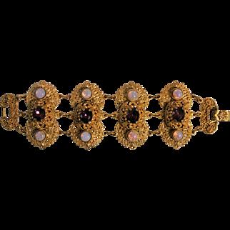 Vintage Ornate Byzantine-Style Faux Opals And Purple Glass Bracelet