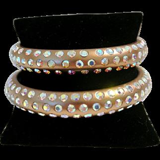 Vintage Bronze-Colored Aurora Borealis Rhinestone Bangle Bracelet
