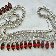Vintage Red And Clear Rhinestone Necklace
