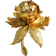 Vintage Warner Day to Night Mechanical Flower Brooch Pin