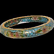 Vintage Outstanding Plique-à-jour (Translucent Enamel) Bangle Bracelet