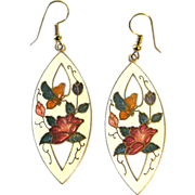 Vintage Cloisonne Butterflies And Flowers Earrings