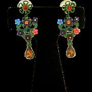 Vintage Flower Garden Rhinestone Earrings