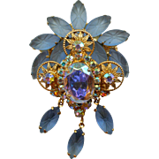 Juliana Powder Blue Aurora Borealis Dangling Brooch Pin