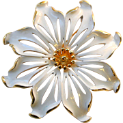 Vintage Monet Gold Tone And White Brooch Pin